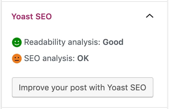 readability and seo analysis in document sidebar