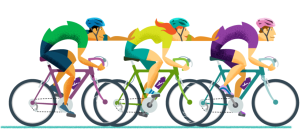 Illustration of people cycling helping each other go faster