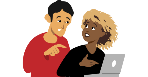 illustration of people talking and looking at a laptop