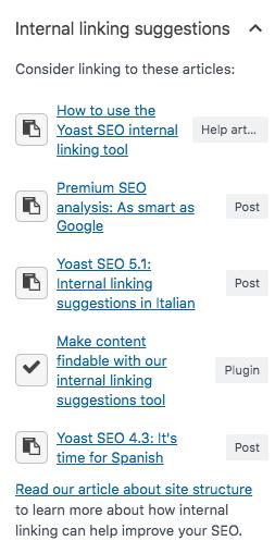 internal linking suggestion