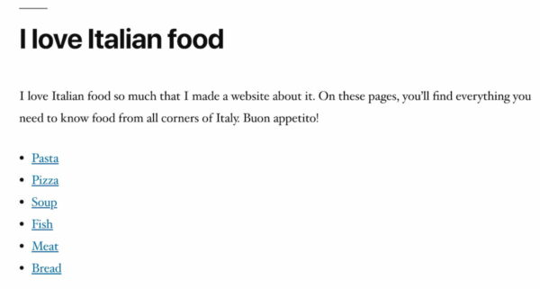 italian food example subpages block yoast seo 14.5