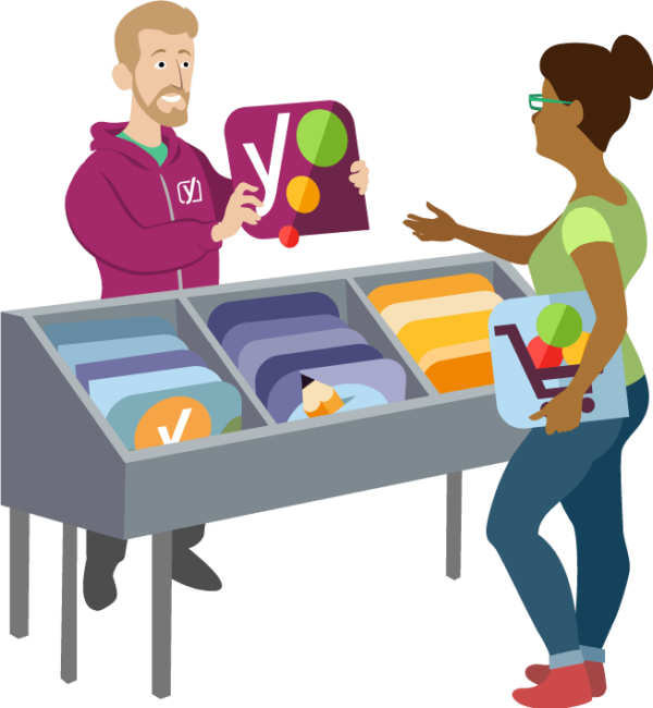 illustration of man handing a Yoast product to someone browsing the products