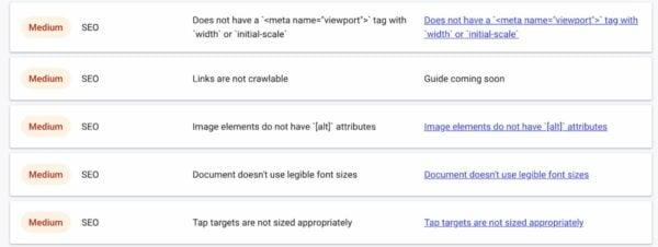 web.dev measure seo advice