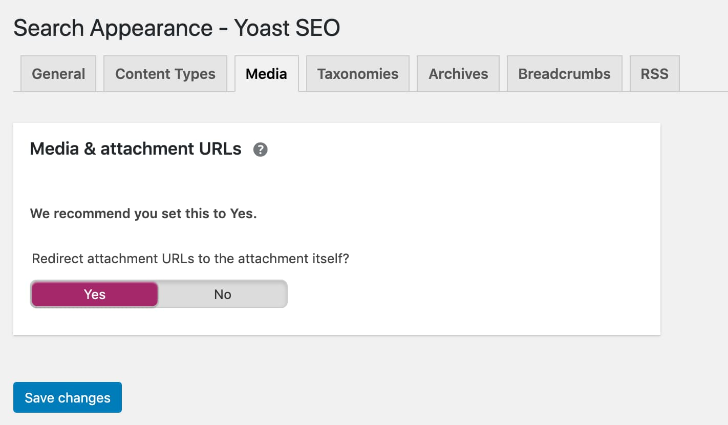 Enable redirecting of attachment URLs in Search Appearance - Media tab