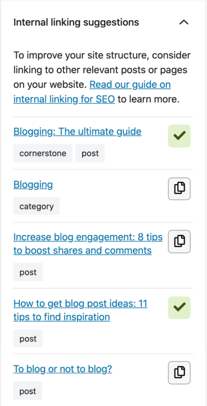 internal linking suggestions in Yoast SEO sidebar
