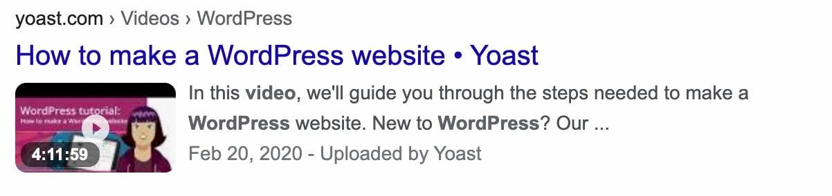 wordpress beginner yoast video rich result