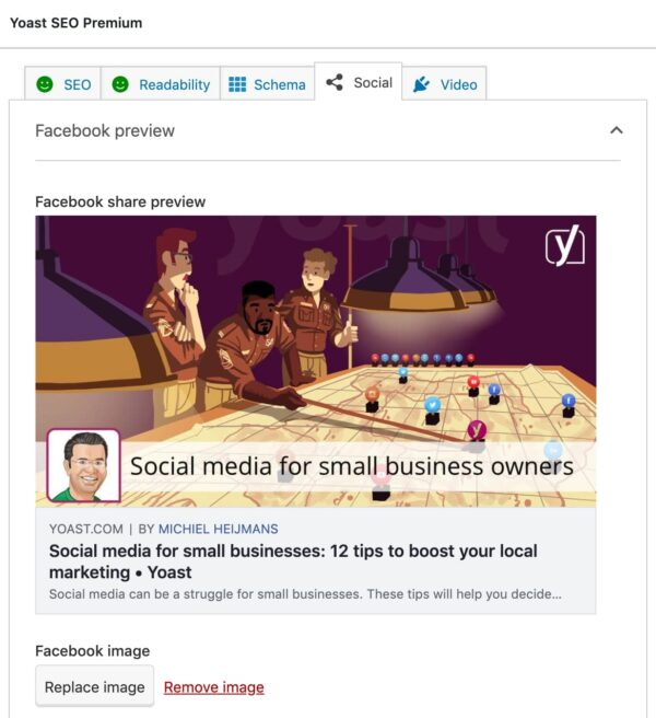 social media preview in yoast seo premium