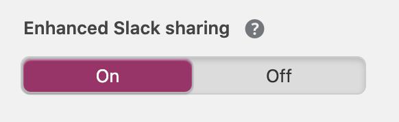 A screenshot of the Yoast SEO enhanced slack sharing setting.