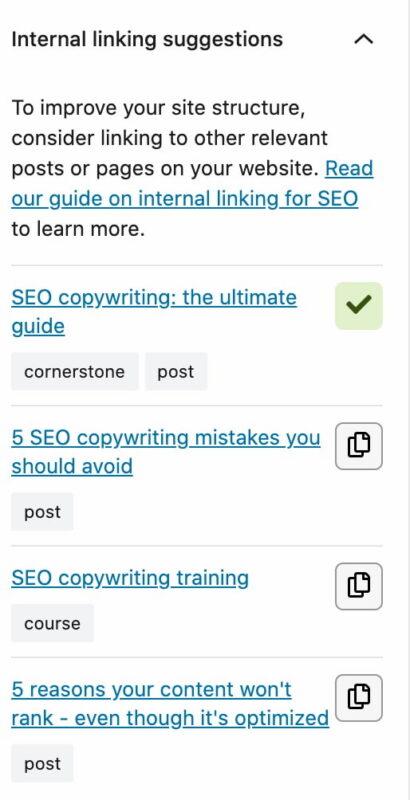 internal linking suggestions yoast seo 15.1