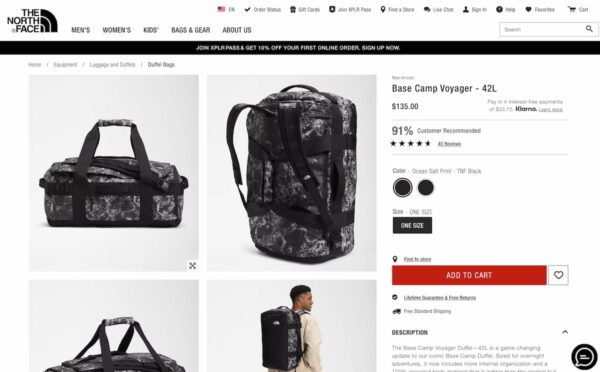 an example of a product page with a red button, to illustrate the importance of CTA's for ecommerce usability