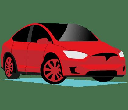 Illustration of Tesla cars