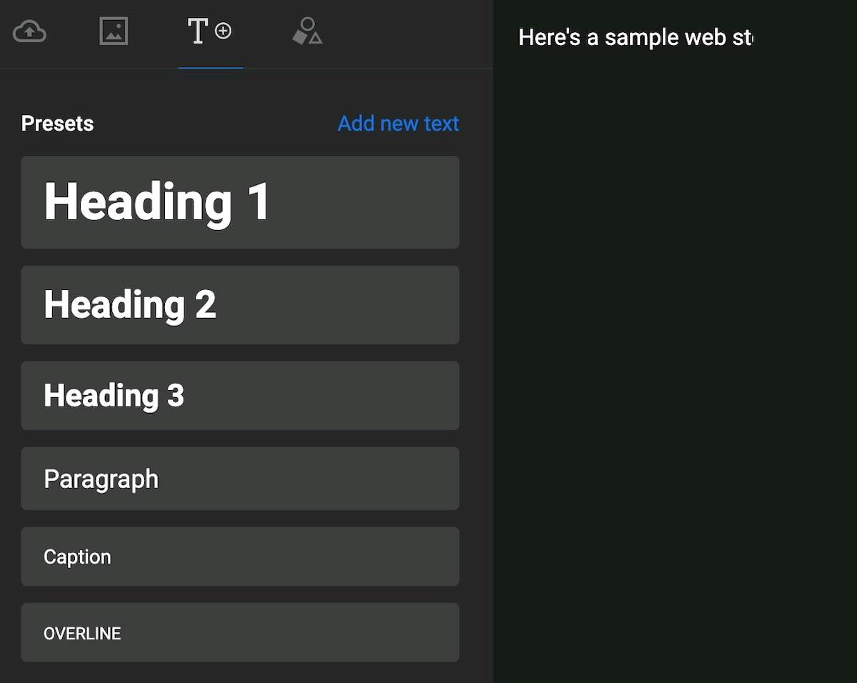 text tab web stories