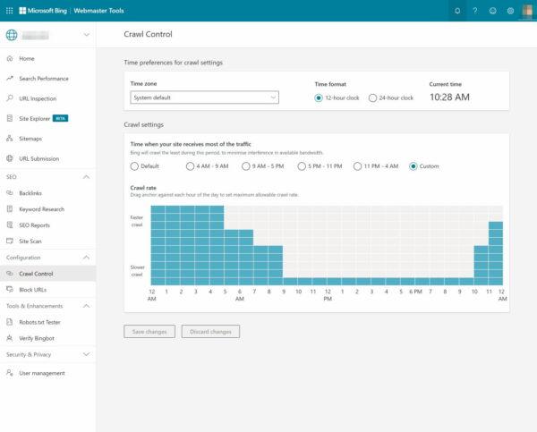 bing webmaster tools crawl control
