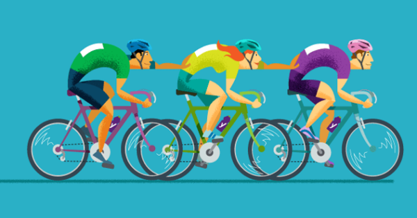 illustration of people cycling together and helping each other go faster