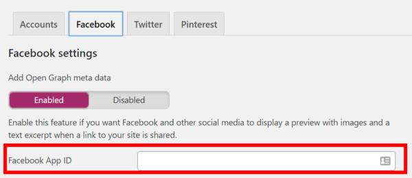 A screenshot of the Yoast 'Facebook App ID' setting.