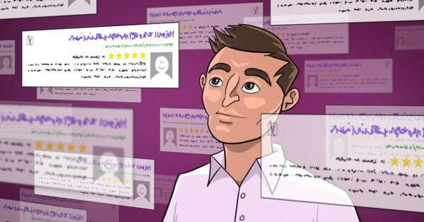 illustration of man looking at rich results