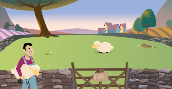 Tragedy of the commons illustration of man looking at a pasture while holding one sheep