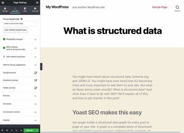 yoast seo and elementor interface