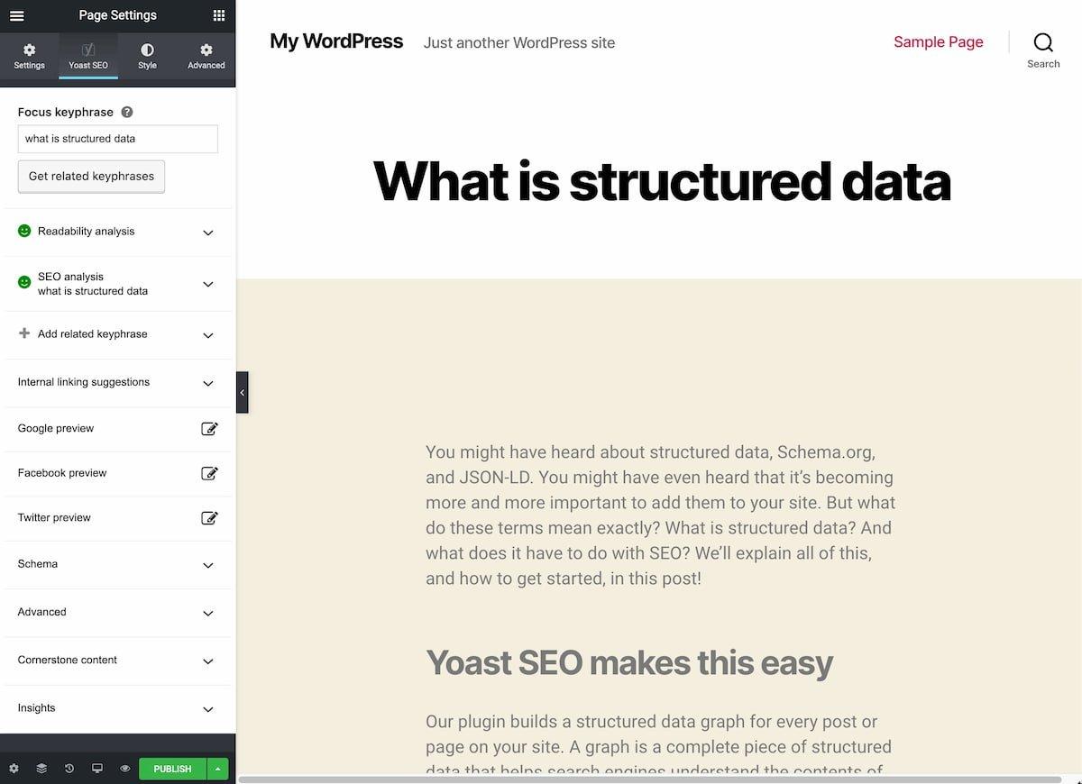 Yoast SEO fully-functioning in the Elementor WordPress site builder