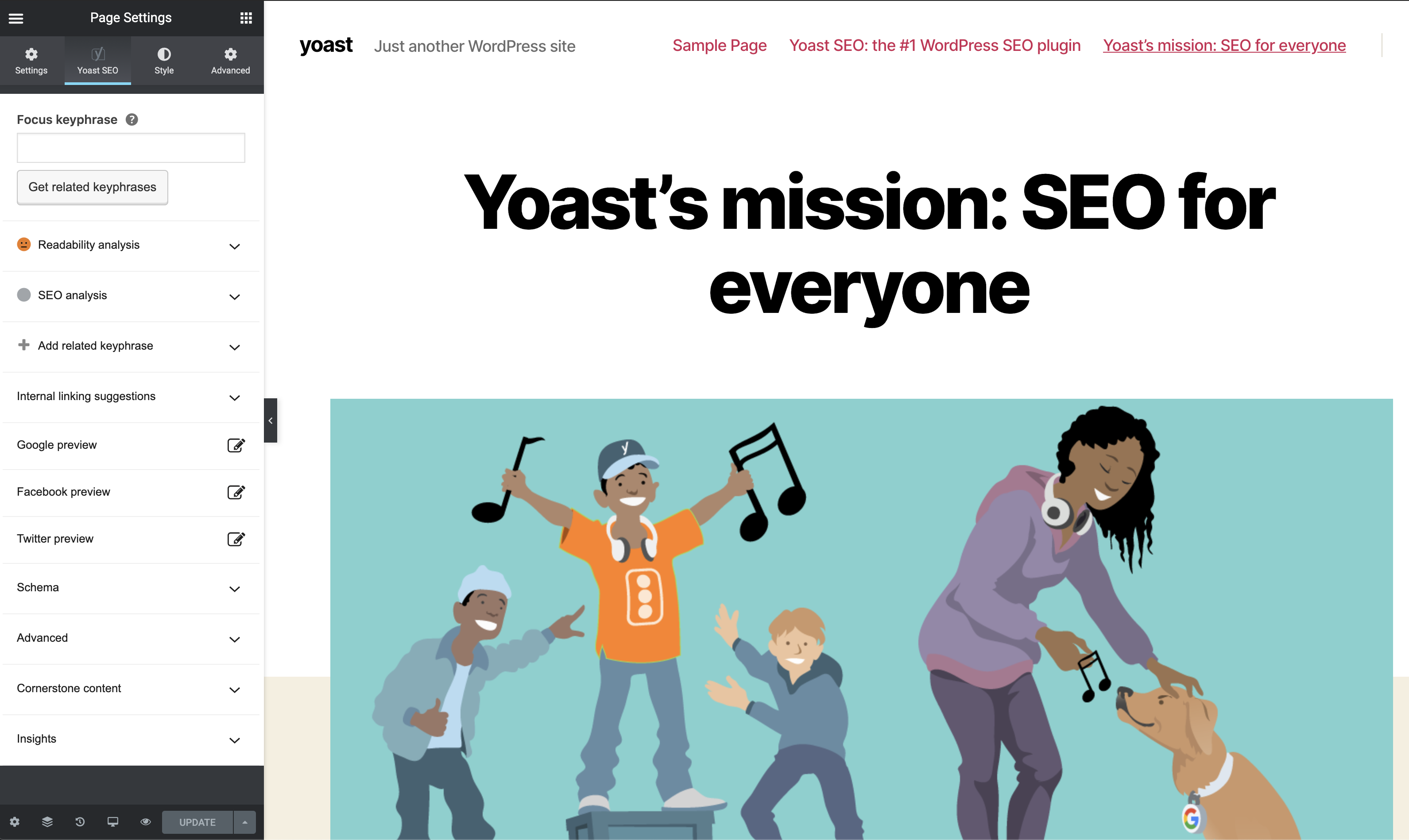 A screenshot of the Yoast SEO sidebar in Elementor