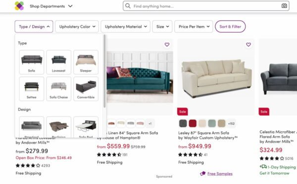 filtering products wayfair