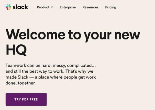 slack homepage payoff