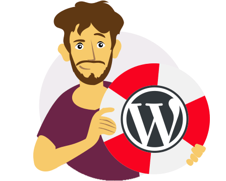 Illustration of a Yoast assistant holding a WordPress logo.