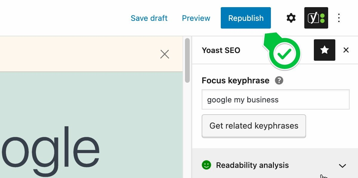 yoast rewrite republish button