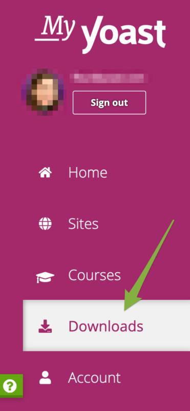 Screenshot of the My Yoast customer portal menu
