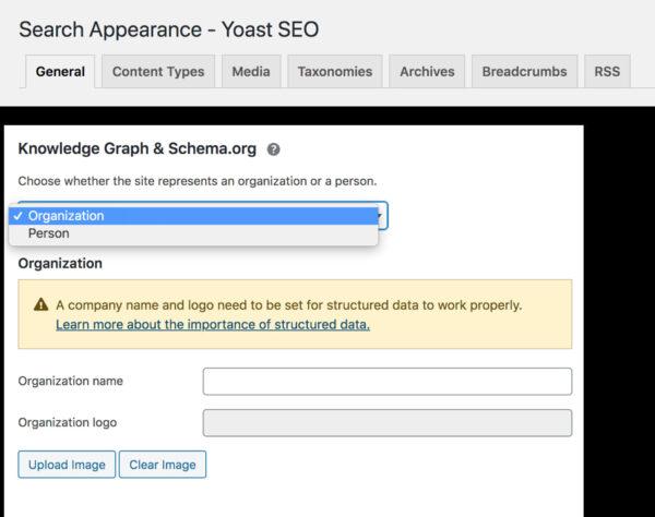 Pestaña de apariencia de búsqueda en Yoast SEO