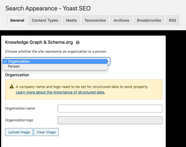 Search appearance tab in Yoast SEO