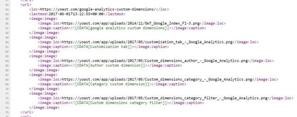 Code from a Yoast SEO XML sitemap