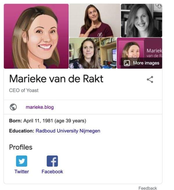 Ejemplo del panel de conocimientos de Google sobre Marieke van de Rakt