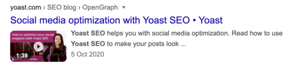 example of a Yoast video in the search results