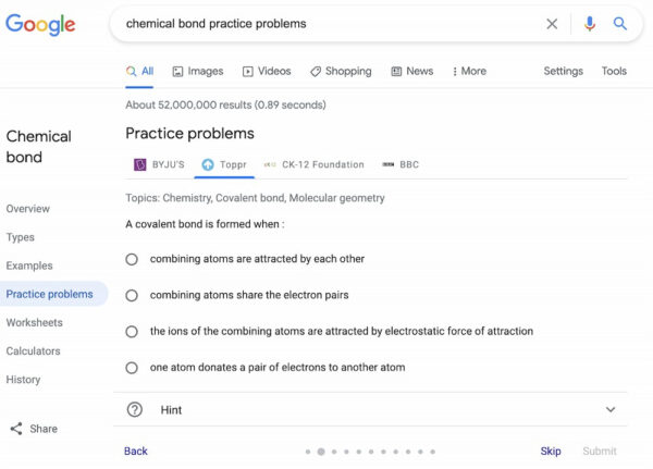SEO news in March 2021: Example of practice problem rich result