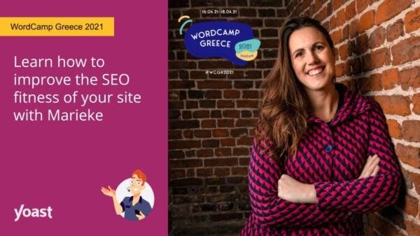 imagen social de Marieke van de Rakt hablando en WordCamp Grecia 2021