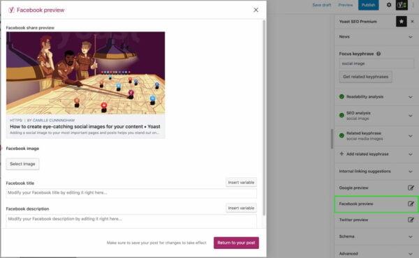 Vista previa de Facebook en Yoast SEO Premium