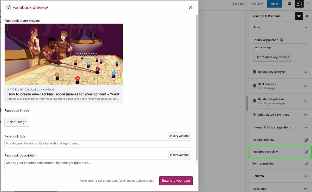 Facebook preview in Yoast SEO Premium