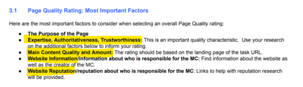 "A screenshot of Google's Search Quality Evaluator Guidelines document, showing the ""Most Important Factors"""