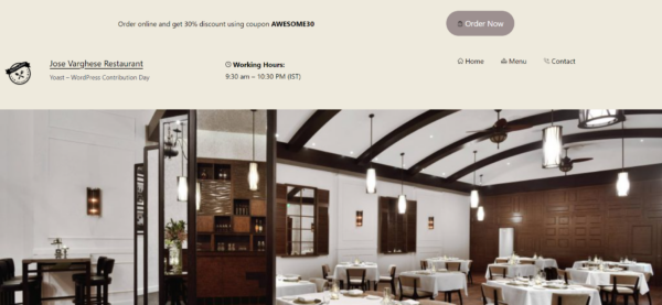 Sleek restaurant website header