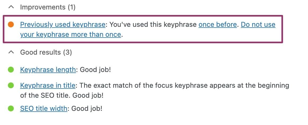 duplicate keyphrase check