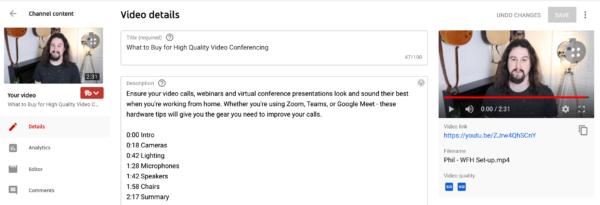 Imagen que muestra cómo agregar marcas de tiempo a su video de YouTube editando la descripción del video