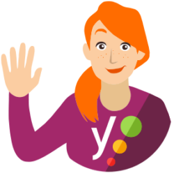 illustration of miss yoast waving