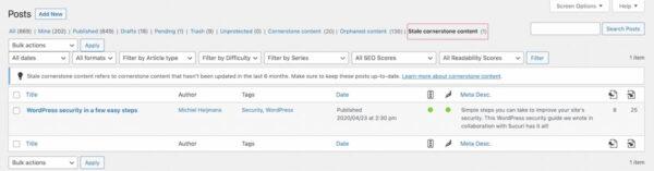 stale cornerstone content filter yoast seo 2021
