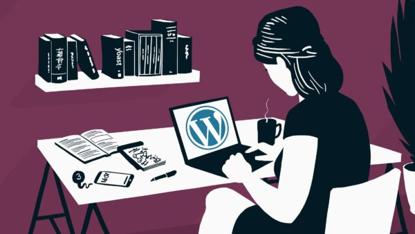 illustration of a woman working on WordPress