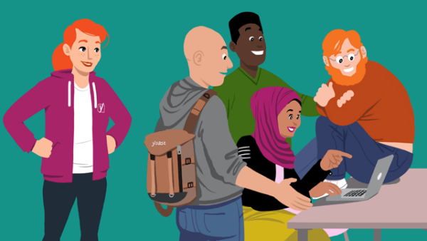 Illustration of a few people happily talking around a laptop