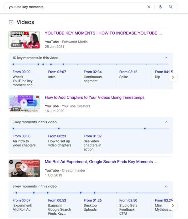 Imagen que muestra los resultados de búsqueda de videos con videos de YouTube con momentos clave