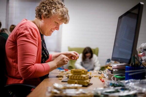 Karin building Lego