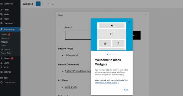 WordPress 5.8: screenshot of new feature block widgets