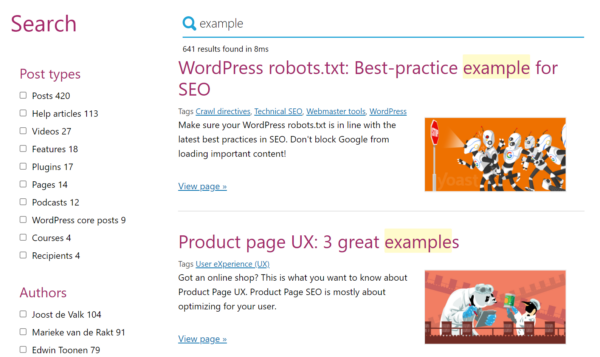 Internal search results for 'example' on yoast.com